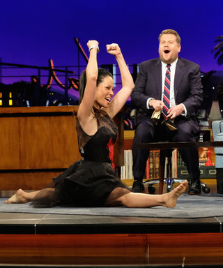 Watch Lucy Liu Casually Slide Into a Full Split While Wearing a Dress on The Late Late Show