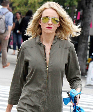 Naomi Watts Walks Her Dog in an Army Green Jumpsuit and Red Sneakers Following Split Announcement