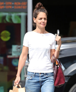 Katie Holmes's Midi-Heeled Mary Janes Perfectly Dress Up Jeans and a Tee