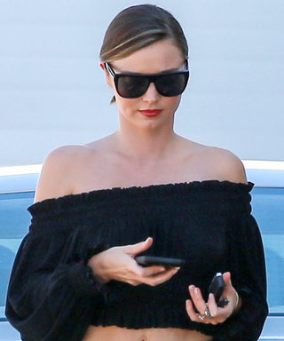 Miranda Kerr Shows Off Her Toned Abs in an Off-the-Shoulder Top