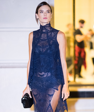 Alessandra Ambrosio Wows in a Stunning Sheer Blue Gown in Paris