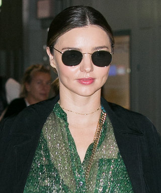 Miranda Kerr Rocks a Glittering Green Top and Skinny Jeans at the Paris Airport