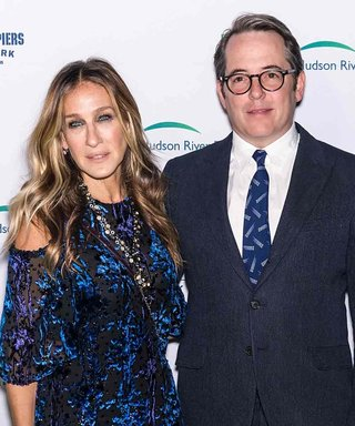 Sarah Jessica Parker Does Date Night with Matthew Broderick in a Navy Embroidered Gown