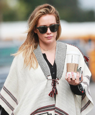 Hilary Duff Looks Fall-Ready in a Printed Poncho and Black Skinny Jeans in L.A.