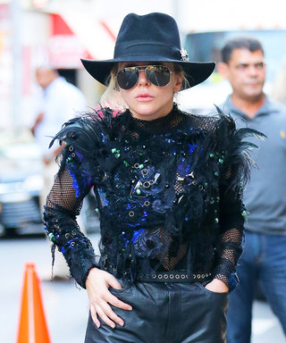 Lady Gaga's Jewel and Feather-Covered Mesh Top Must Be Seen to Be Believed