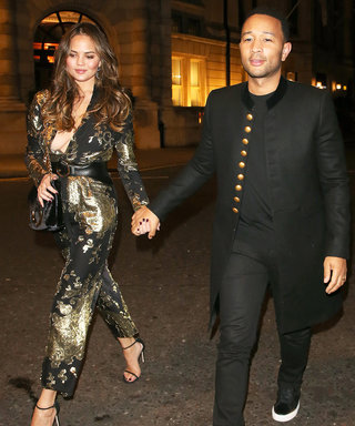 Chrissy Teigen Shimmers in a Plunging Metallic Jumpsuit for Date Night