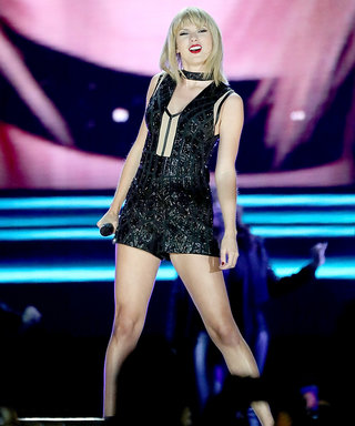 Taylor Swift Sparkles in a Metallic Black Jumpsuit for Her Texas Concert