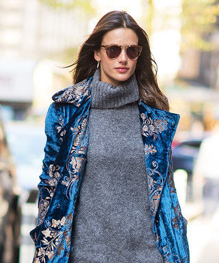 Alessandra Ambrosio's Blue Velvet Coat and Lace-Up Boots Are #FashionGoals