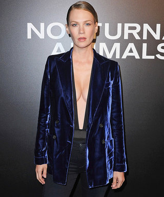 January Jones Takes the Plunge in a Daring Blue Velvet Suit