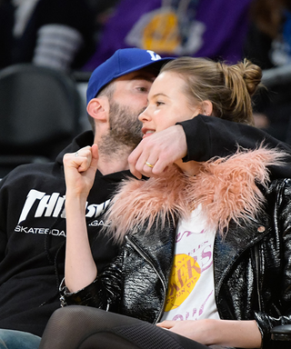 Adam Levine and Behati Prinsloo Get Romantic at a Lakers Game