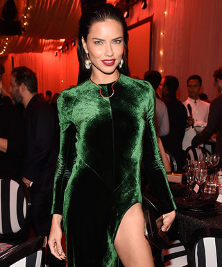 Adriana Lima Absolutely Stuns in Green Velvet Gown at Charity Event