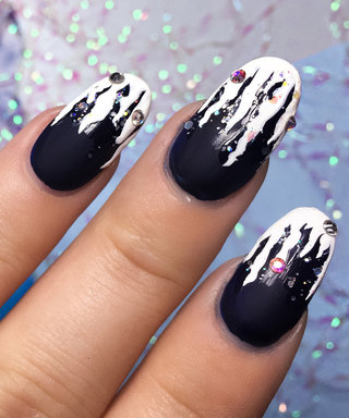 This Rhinestone-Studded Holiday Mani Is the Reason For the Season