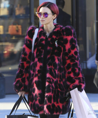 Ruby Rose Shows Off Her New Hair with a Matching Magenta Coat