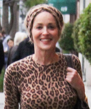 Sharon Stone Wins Fashion in Leopard and Leather
