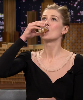 "Rosamund Pike Takes Shots and Says ""Nasal Hair"" Like a Lady"