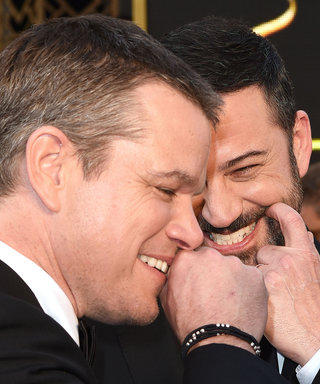Jimmy Kimmel Doodles on Matt Damon's Face at the Oscars Venue