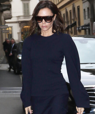 Victoria Beckham Looks Oh So Posh in Chic Navy Blue Set