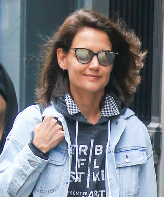 Katie Holmes Shows Off Her Brand New Lob in Cool Denim-on-Denim