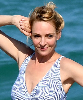 Uma Thurman Strikes a Pose in a Printed One-Piece Swimsuit