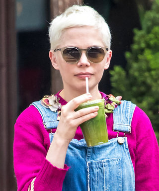 Overall-Clad Michelle Williams Makes Green Juice Her Chicest Accessory