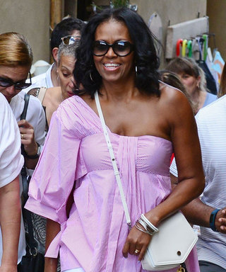 Michelle Obama Wears Bubblegum Pink to Play Tourist in Tuscany