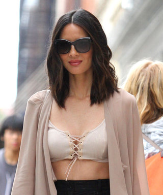 Olivia Munn Shows Off Her Abs (Again!) in a Nude Lace-Up Bralette