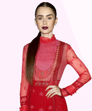 Lily Collins Wears 50 Shades of Red, Wins