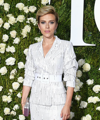 Scarlett Johansson Wore This High-Slit Suit to the Tonys