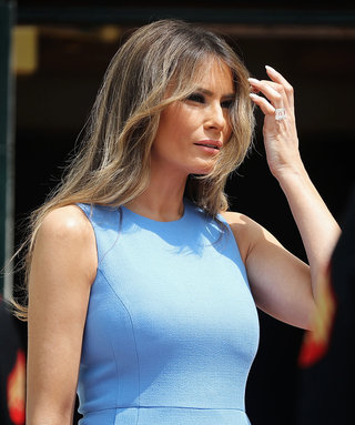 Melania Trump Wears Blue Michael Kors to Meet the President and First Lady of Panama