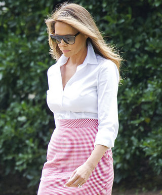 Melania Trump Is Patriotic in a Red-and-White Gingham Altuzarra Skirt