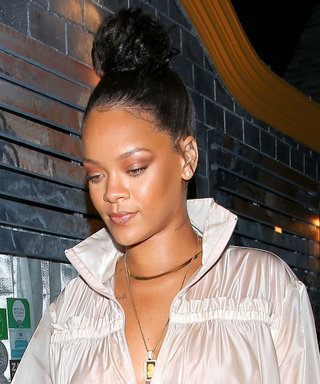 Rihanna Wears a Plunging, See-Through Raincoat as a Minidress