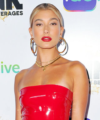 Hailey Baldwin Looks Like Barbie IRL in an $80 Skintight Latex Red Mini