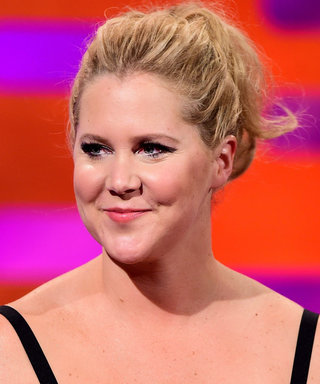 Amy Schumer Poses Nude with a Dog Dressed like a Hot Dog