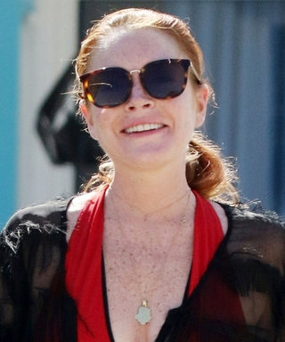 Lindsay Lohan Looks Baywatch-Ready in a Red Swimsuit