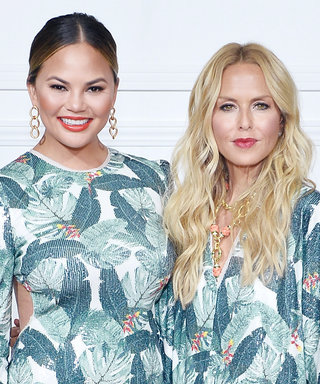 Chrissy Teigen and Rachel Zoe Twin in Palm Prints