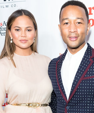 Chrissy Teigen's Feathered Dress (and Its Hip-High Slit) Was Perfect for Date Night
