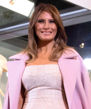 Melania Trump Wears Pink Heels and a White Dress to Donate Her Inaugural Ball Gown