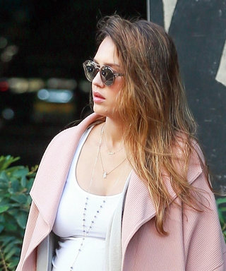 Pregnant Jessica Alba Shows Off Growing Bump in Chic Pastel Ensemble