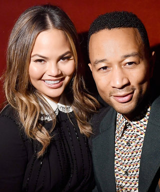 Chrissy Teigen Can't Hide Her Baby Bump in This Chic Black Wrap Coat