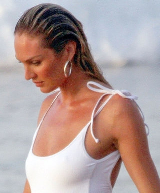 Pregnant Candice Swanepoel Stuns in a White Thong Swimsuit