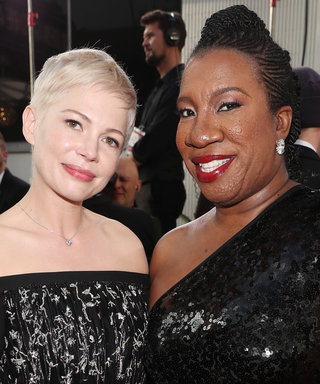 Michelle Williams Hit the Globes Carpet with the Founder of the Me Too Movement
