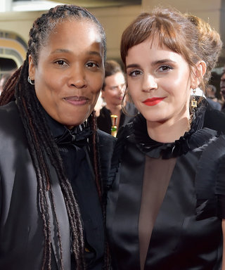 Emma Watson Hits the Golden Globes Red Carpet with New Fringe and a Special Guest