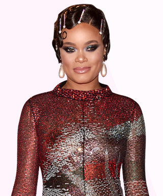 Andra Day Wears a Dress Made Entirely of Sparkles and Swarovski Crystals in Her Hair