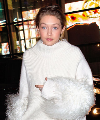 Gigi Hadid Channels Angelina Jolie in Winter White Feathers