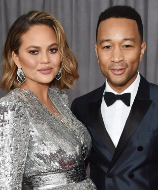 Pregnant Chrissy Teigen Shields Her Baby Bump in Sequined Armor at the Grammys