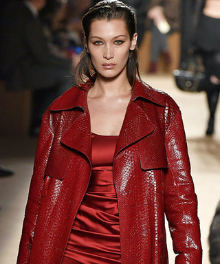 Bella Hadid Sizzles in a Red Hot Leather Trench on the Catwalk
