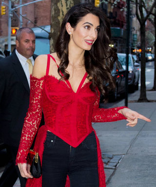 Amal Clooney Wore a Lacey Red Corset to a Party