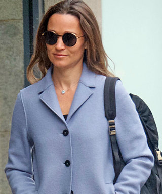 Pippa MIddleton Steps Out Amid Pregnancy Rumors in Loose-Fitting Light Blue Coat