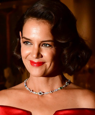 Katie Holmes's Red Satin Look Proves She's on a Retro Streak