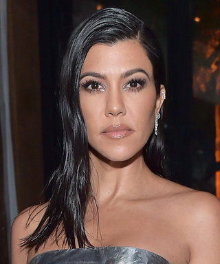 Kourtney Kardashian's Silver Strapless Dress Looks Legit Like Wrapping Paper